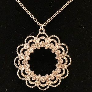 LOFT pave silver pendant necklace